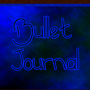 dark blue bullet journal