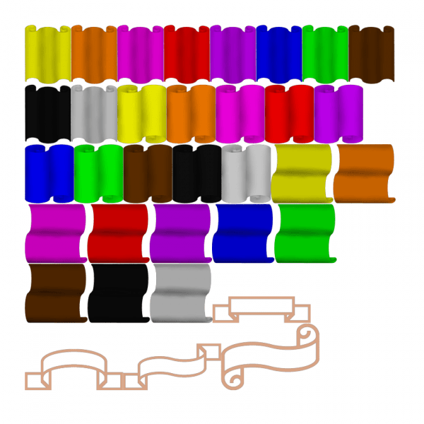 Scrolls and stationary themed sticker kit